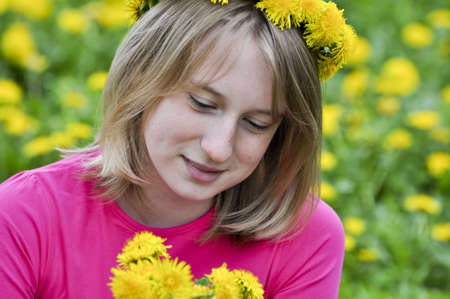 pacification: Girl in the field of dandelions