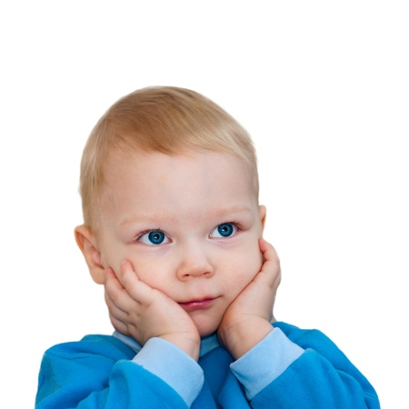 Portrait of surprised child isolated on white background  photo