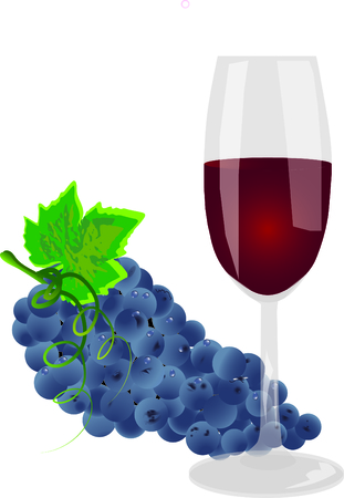 raisin: glass of wine with a bunch of grapes