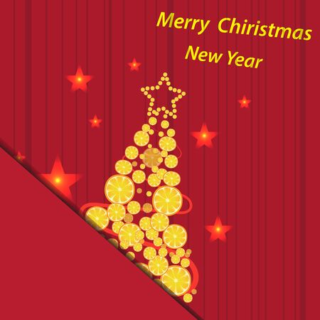 red envelope: Christmas vector background Christmas tree in a red envelope