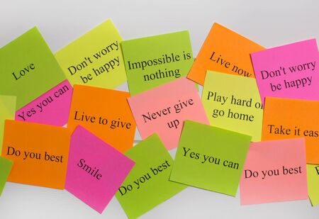 Motivational words on colorful stickers on white background. A vision Board. Cards with words. Affirmation, development, training, seminar. Plan, strategy, to-do list, concept. Creativity, project, ar