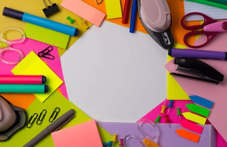 Colored stationery, Flat lay. Back to school. Copy Space. Frame, concept, art, handmade, project. Office, education. Banco de Imagens - 145131238
