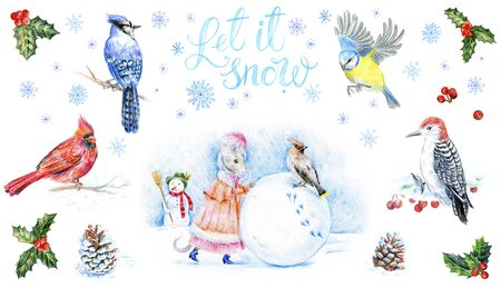 Christmas card set. Woodpecker bird on a snowy branch in the winter forest. Red cardinal, blue jay and tit bird. Isolated on a white background. The mouse sculpts a snowman. Let it snow lettering.