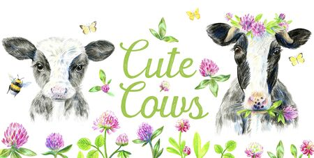 Portrait of a cow in a wreath of clover and calf. Butterfly and a bumblebee flying. Lettering Cute Cows. Pencil sketch.