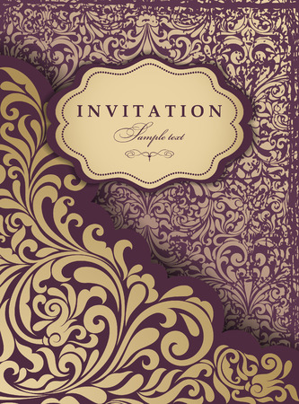 oldstyle: Invitation cards in an old-style gold and burgundy Illustration