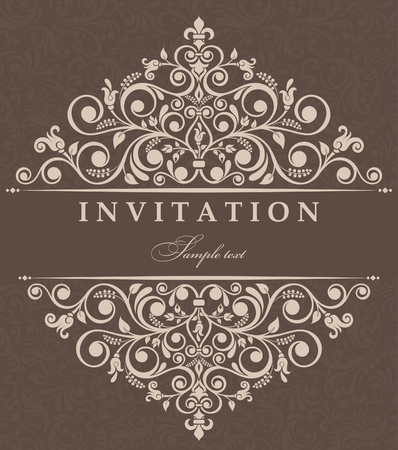 oldstyle: Invitation cards in an old-style brown Illustration