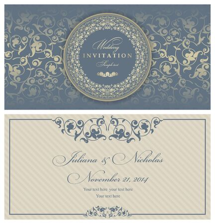 oldstyle: Invitation cards in an old-style blue and gold