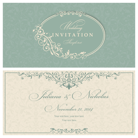 oldstyle: Invitation cards in an old-style green and beige Illustration