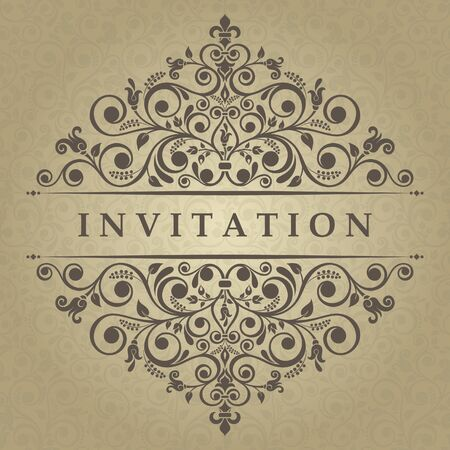 oldstyle: Invitation cards in an old-style gold Illustration