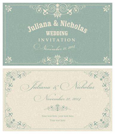 tarjetas de invitación de un viejo estilo de color verde y beige