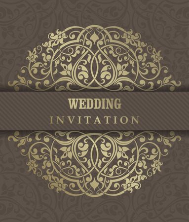 oldstyle: Invitation cards in an old-style gold and brown