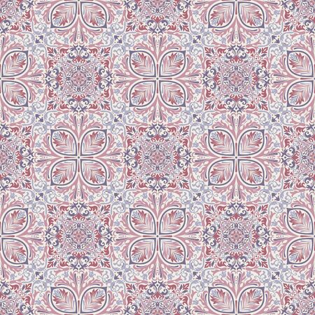 Seamless background of lilac and blue color in the style of Damascus