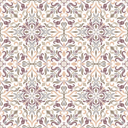 Seamless background of green, beige, violet and gray color in the style of Damascus