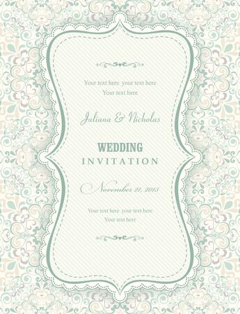 oldstyle: Invitation cards in an old-style beige and green Illustration