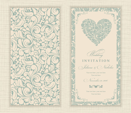 oldstyle: Wedding invitation cards in an old-style green and beige.