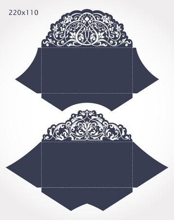 Set van 2 huwelijksuitnodigingen barok. Sjabloon voor lasersnijden. Open kaart. Het kan worden gebruikt als een envelop.