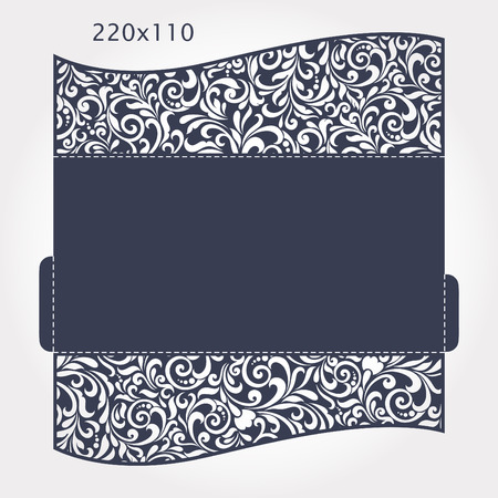 Wedding Invitation Baroque. Template for laser cutting. Open card. The front and rear side. It can be used as an envelope. Folded size 220x110 mm.