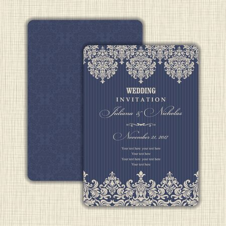 Wedding Invitation with baroque pattern. Size: 5 x 7. Beautiful Victorian ornament. Frame with floral elements. The front and back side. Add photos and text to both sides of this flat card.