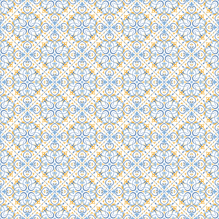 Seamless background baroque style blue and yellow. Vintage Pattern. Retro Victorian. Ornament in Damascus style. Elements of flowers, leaves. Vector illustration. Wallpaper, print packaging, textiles.