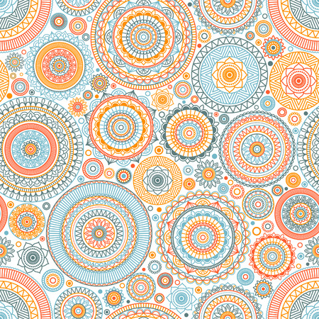 Seamless background Eastern style blue and red. Arabic Pattern. Mandala ornament. Illustration