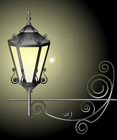 afterglow: illustration of night street lamp