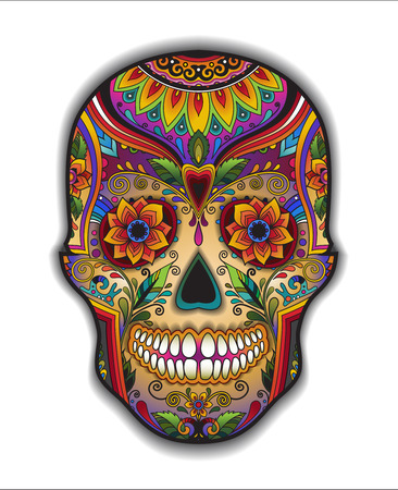 Print mexican traditional skull for T-shirt with floral ornament Vettoriali