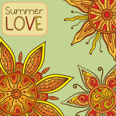 indian summer: Vector background with ornament of the graphic suns Summer love. Traditional indian style Illustration