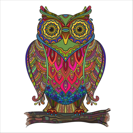 owl: Vector illustration of beautiful decorative owl with a lot of details and colors.