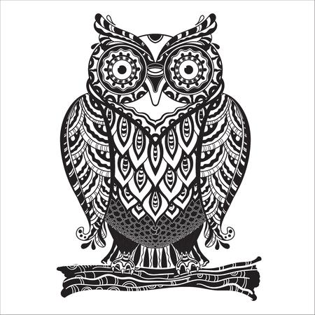 多くの詳細で美しいモノクロ装飾的なフクロウのベクター イラストです。