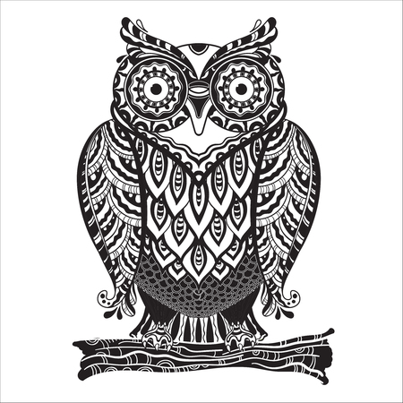 doodle art: Vector illustration of beautiful monochrome decorative owl with a lot of details.