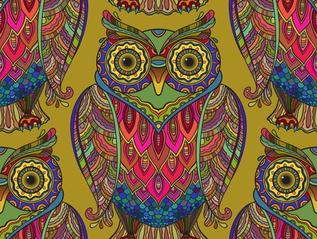 Seamless pattern with a lot of beautiful decorative owls. The pattern has many details and colors.