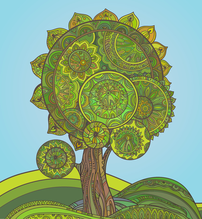 environment: Abstract ornamental graphic magic tree with a lot of details and colors