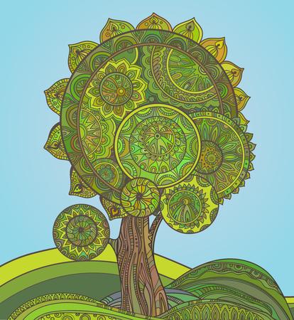 medio ambiente: Ornamental árbol mágico gráfico abstracto con un montón de detalles y colores