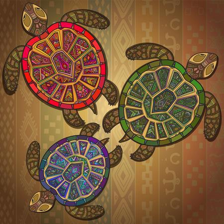 세 거북이와 배경 무늬. 민족 스타일의 동물 장식 배경.