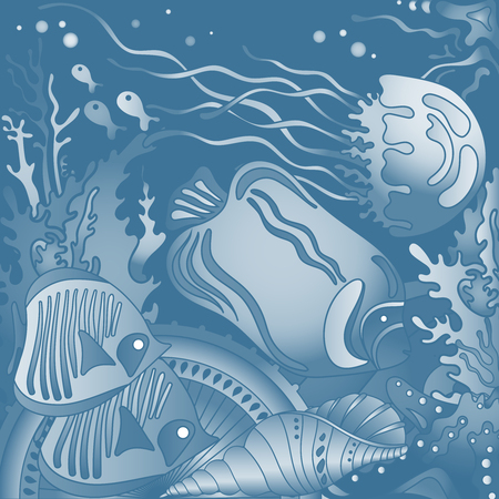 reefs: Vector illustration with underwater world of the tropical sea, coral reefs, fishes, stars and  jellyfish