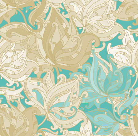 vintage floral pattern: Seamless vector pattern with  floral ornament with a lot of details