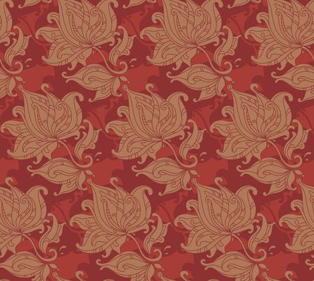 decorative wallpaper: Seamless vector pattern with  floral ornament with a lot of details