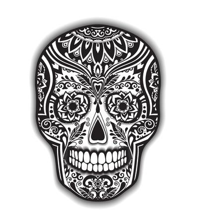 dia de muerto: Imprimir calavera tradicional mexicana para la camiseta con adornos florales