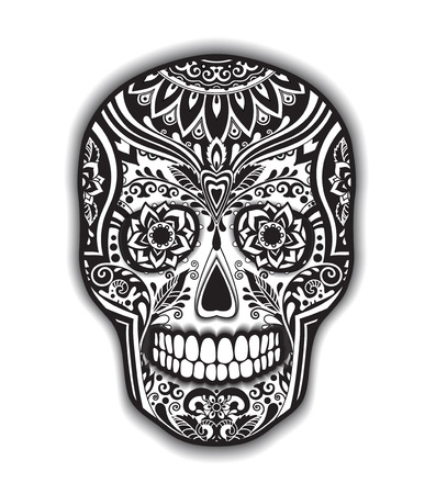 day sign: Print mexican traditional skull for T-shirt with floral ornament Illustration