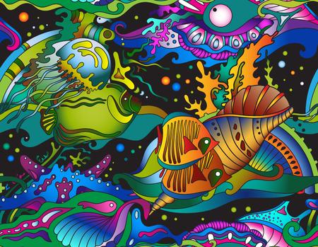Vector sin patrón mar con peces tropicales, estrellas, medusas