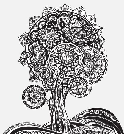 albero della vita: astratto magico albero ornamentale grafica in bianco e nero con un sacco di dettagli