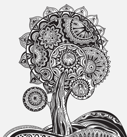 green life: black and white abstract ornamental graphic magic tree with a lot of details