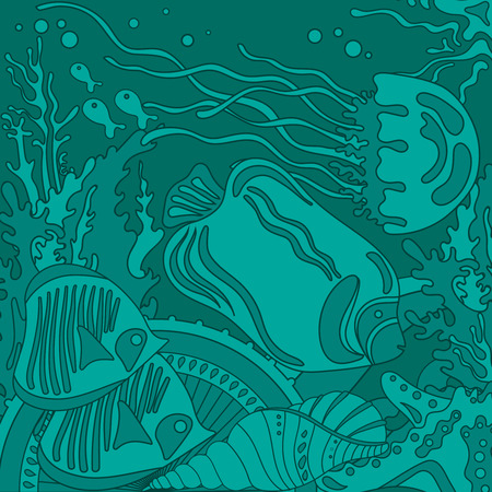 reefs: Vector illustration with underwater world of the tropical sea, coral reefs, colored fishes, stars and  jellyfish