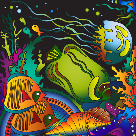 bubble sea anemone: Vector illustration with underwater world of the tropical sea, coral reefs, colored fishes, stars and  jellyfish