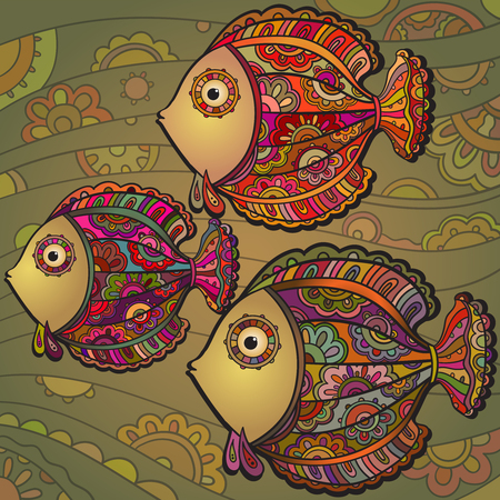 Colorful background of a lot of beautiful decorative ornamental fishes Illustration