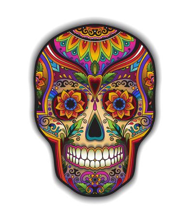 花飾り付き t シャツの印刷のメキシコ伝統的な頭蓋骨 写真素材 - 44790325