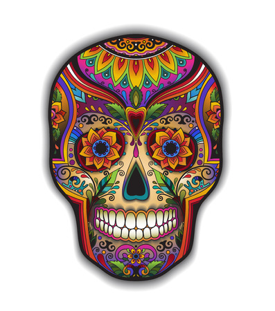 mexican culture: Print mexican traditional skull for T-shirt with floral ornament Illustration