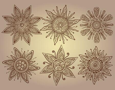 słońce: Drukuj wektora sześciu ozdobnych słońca z dużą ilością szczegółów. Tradycyjny indyjski styl mehendi