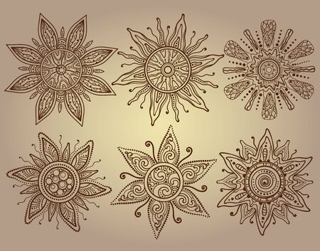 sun light: Vector print of six ornamental suns with a lot of details. Traditional indian style mehendi