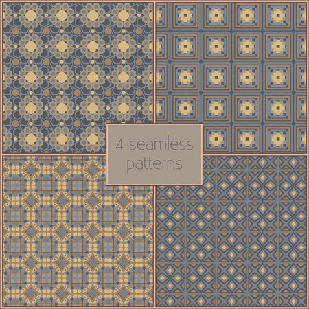 background pattern: 4 different vector seamless patterns (tiling). Endless texture can be used for wallpaper, pattern fills, web page background,surface textures. Set of geometric ornaments.